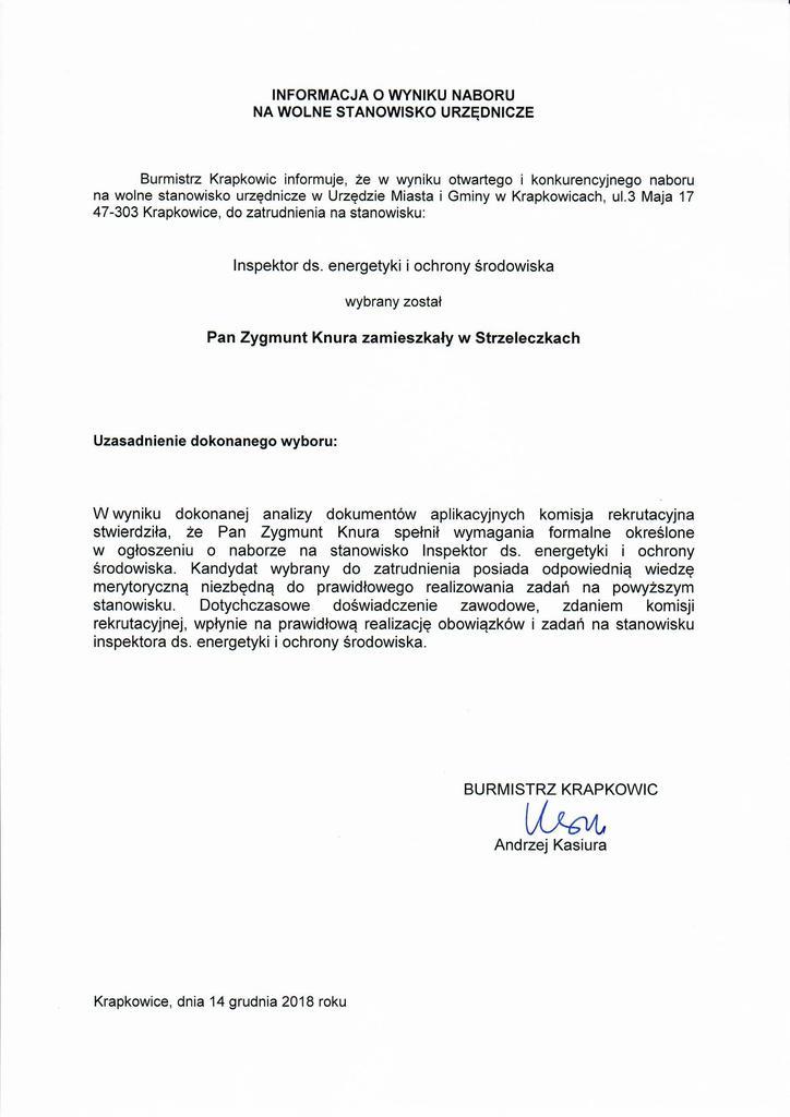 Informacja o wyniku naboru na wolne stanowisko urzędnicze - inspektor ds. energetyki i ochrony środowiska.jpeg