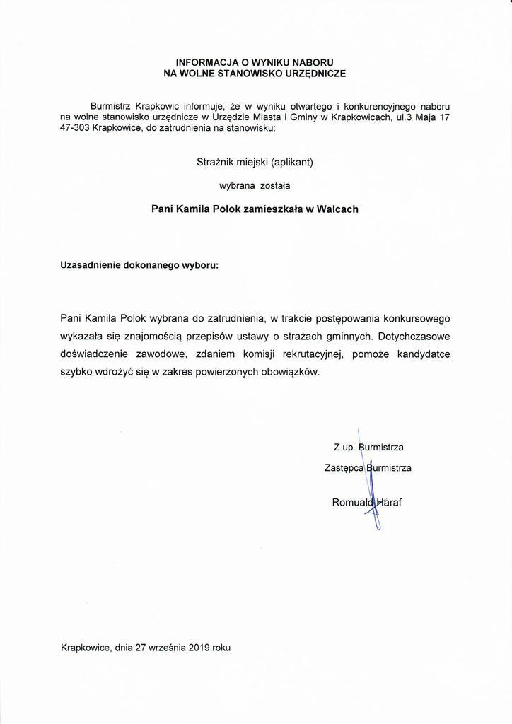 Informacja o wyniku naboru na wolne stanowisko urzędnicze - straznik miejski (aplikant).jpeg